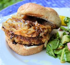 Farmhouse Veggie Burger - made with eggplant! I've been wanting to find something I really like with eggplant and by the looks of it, this is it!