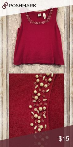 Sleeveless sweater top Beautiful sweater top! Neckline has beads and pearls. It's in between a red and wine color. Emma James Tops Blouses