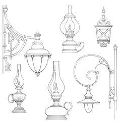 Vintage gas lamps kerosene lamps silhouette vector image on VectorStock Doodle Drawings, Doodle Art, Line Drawing, Drawing Sketches, Lantern Drawing, Lamp Tattoo, 8bit Art, Kerosene Lamp, Street Lamp
