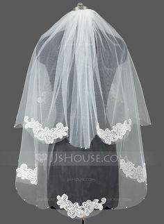 Wedding Veils - $16.99 - Two-tier Fingertip Bridal Veils With Cut Edge (006053185) http://jjshouse.com/Two-Tier-Fingertip-Bridal-Veils-With-Cut-Edge-006053185-g53185