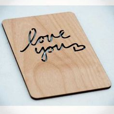 Typography Love You Wood Laser-Cut Card