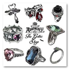 """""""Alchemy Gothic Rings"""" by thegothicshop ❤ liked on Polyvore"""