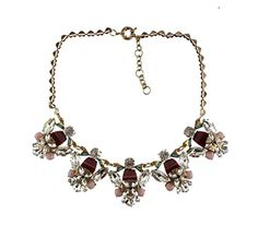 Your #1 Source for Jewelry and Accessories » J New Crew Brown Pink Crystal Statement Necklace