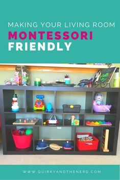 My family lives in a small townhouse. When my daughter got old enough, I wanted her to have a Montessori area. but we didn't have a spare room. So I made my living room Montessori-friendly. Read how I did it at quirkyandthenerd.com