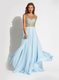 long sleeveless chiffon gown with gold embellishment along the bodice and an empire waist