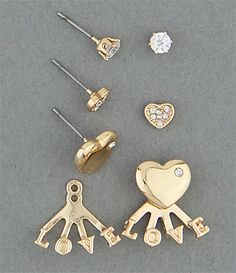 Simply Whispers hypoallergenic and nickel free jewelry pierced earrings set gold cz stud cz heart stud cz heart stud with love jacket