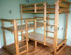 Three-bed over corner (bunk bed)