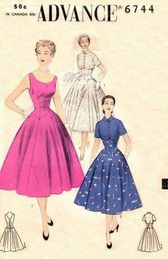 Advance 6744 Graceful Nip Waisted Dress & Bolero / ca. 1954
