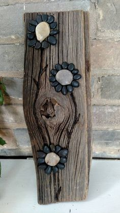Pebble Art / Black Flower Decor /Art / от OnTheRightPathDesign