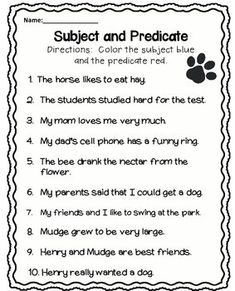 Subjects and Predicates Worksheet Lovely Subject and Predicate Worksheet Free Lessons English Grammar Worksheets, Grammar Lessons, English Phonics, Grammar Activities, English Sentences, School Worksheets, Science Activities, English Vocabulary, Printable Worksheets
