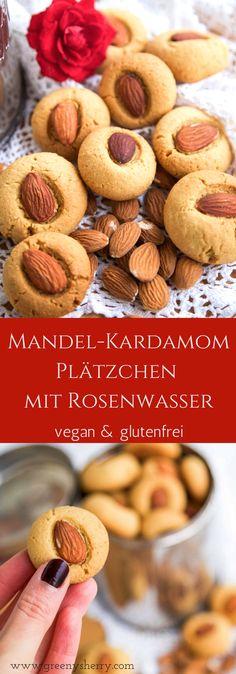Feine Mandel-Kardamom Plätzchen mit Rosenwasser (glutenfrei & vegan) - Greeny Sherry - Vegane Rezepte & grün(er)leben | vegan food & life