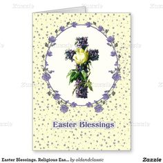 Easter Blessings. Vintage Easter Cross design Religious Christian Easter Greeting Cards. Matching cards and products available in the Holidays / Easter Category of the oldandclassic store at zazzle.com