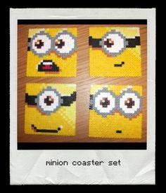 Despicable Me Minion Coaster Set x 4 - onderzetters van strijkkralen :)