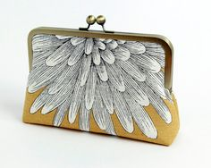 Chrysanthemum  silk lined yellow floral clutch BagNoir by BagNoir, $65.00