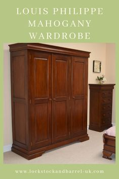 This French style Louis Philippe Mahogany Wardrobe is the perfect solution for your bedroom storage. The double side of the wardrobe has a hanging rail with shelf above and the single side has the choice of double hanging or shelves. The wardrobe is cleverly constructed in pieces making it easier to get into your bedroom! #mahoganywardrobe #mahoganybedroomfurniture #frenchfurniture #mahoganyfurniture Barrel Furniture, Wood Furniture, Bedroom Furniture, Mahogany Furniture, French Furniture, Triple Wardrobe, Dressing Table With Stool, Blanket Box, Hanging Rail
