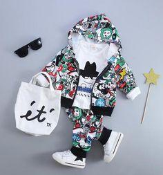 bdb134ef303ebc Baby clothing set cotton autumn hoodies + pants + t-shirt 3 pieces children  outerwear kids clothes suit 2 years newborn outfits. Peuter Meisje ...