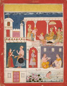 Ruler at a Religious Ceremony. Opaque pigment on paper, India, Malwar, Late C. India Painting, Lotus Pond, Religious Ceremony, Indian Artist, Central Asia, Red Background, 17th Century, Ruler, Art And Architecture