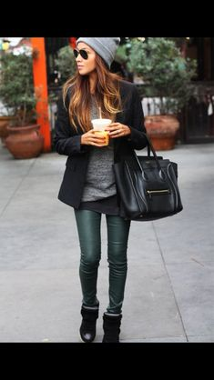 Coated dark green jeans by J Brand