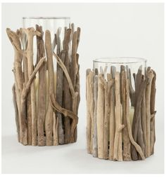 Driftwood candle holders. World market.