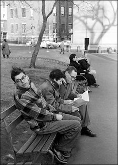 Ginsberg and Corso with publisher Barney Rosset in Washington Square Park
