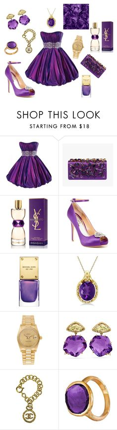 """purple dream"" by maryanacoolstyles ❤ liked on Polyvore featuring Maggie Sottero, Prada, Yves Saint Laurent, Badgley Mischka, Michael Kors, Allurez, Rolex, Chanel and Marco Bicego"