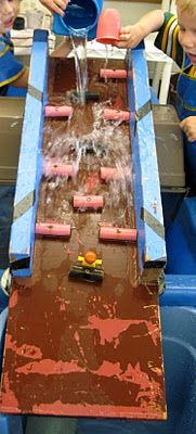 create a ramp using wood planks and dowels cut in half and screwed into place -- good for water, cornstarch+water, mud play
