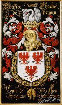 "(223) Charles de BRIMEU, comte de Meghem (†1569) -- ""Messire Charles de Brimeu, conte de Meghen, seigneur de Humbercourt"" -- Armorial plate from the Order of the Golden Fleece, 1559, Saint Bavo Cathedral, Gent"