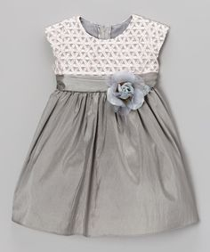 Take a look at this Silver Ribbon-Bodice Taffeta Dress - Infant on zulily today!