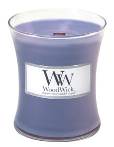 Woodwick Candle Lavender Medium Jar by WoodWick. $17.99. The 10oz jar candle fragrances up to 100 hours.. Our highly fragranced jar candles feature a natural wooden wick to create the soothing sound of a crackling fire.. The intoxicating scent of delicate lavender in full bloom on a French countryside