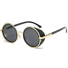 Golden side shields highlight the steampunk hippie style of these retro-chic round metal sunglasses. Metal frames with gray lenses for UV protection. Oversized Round Sunglasses, Retro Sunglasses, Gold Sunglasses, Sunglasses Women, Sunnies, Sunglasses Sale, Goggles Steampunk, Steampunk Sunglasses, Gothic Steampunk