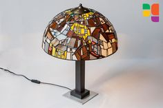 Stained Glass Lamp. Based on Egon Schiele Crescent of Houses (The small City V). Handmade in Poland.