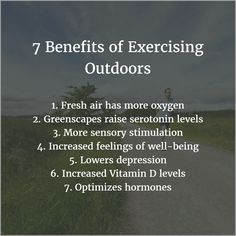 7 Benefits of Exercising Outdoors. I 💜 outdoors exercise! With lots of lunar energy, my most productive and optimal hours to enjoy nature, the moon, stars and solitude is 💜 Morning Routine Checklist, Healthy Morning Routine, Wellness Fitness, Health And Wellness, Mental Health, How To Have A Good Morning, Sensory Stimulation, Serotonin Levels, Survival