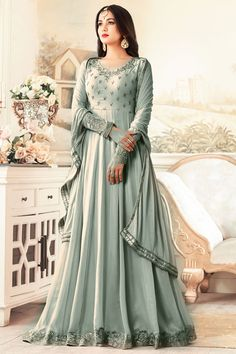 Grey Embroidered Georgette Party Wear Attractive Traditional Look Occasionally Wedding Collection Sonal Chauhan Anarkali Suit #maishamaskeen #sonalchauhan #greycolor #embroidery #floorlength #anarkali #salwarsuits #salwarkameez #fashion #style #sonalchauhan #indiantraditional #partywear #weddingseason #indonesian #france #london #kenya #uk #newarraiwal #fancyanarkali