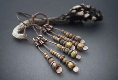 rustic earrings • oxidized copper • tribal • ethnic jewelry • antique look Picasso beads • fringes • cascade • handforged copper • glass