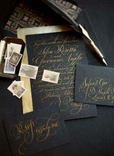 inspiration | elegant gold foil of black wedding invitations | via: 100 layer cake