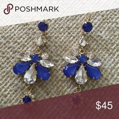 Purple/blue dangly juicy couture earrings Beautiful juicy earrings!  Never been worn. Great for special events! Juicy Couture Jewelry Earrings