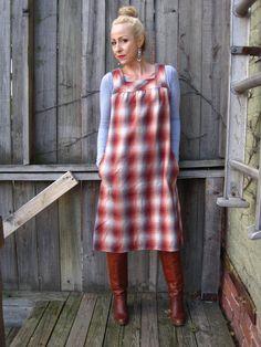 vintage 70s plaid romper jumper dress a line by detroitdolly