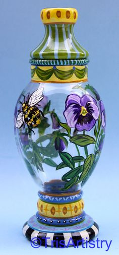 Hand Painted Purple Pansy, Bumble Bee & Dragonfly on a Glass Apothecary Jar Buzzy Bee, Glass Apothecary Jars, Hand Painted Wine Glasses, Painted Vases, Bee Theme, Dragonflies, Pansies, Bees, Painted Furniture