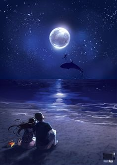 Commission for a guy who wants to do a surprise to his ( almost ) girlfriend. He asked me to do he and she in a beach with a beautiful moon. Commission - Stay with me Love Cartoon Couple, Cute Couple Art, Anime Love Couple, Couple Amour Anime, Paar Illustration, Couple Illustration, Beautiful Moon, Beautiful Scenery, Anime Scenery