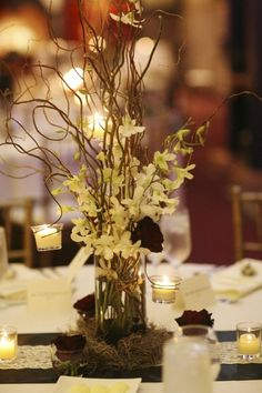 Table Centerpiece #2 (with some flowers that compliment other table centerpieces in place of white flowers)