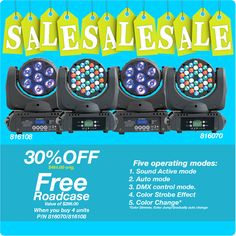 Take advantage of this sale on our moving head  lights, lets get moving and  light up your special event!! www.rashaprofessional.com (951)654-3585  #events #lighting #moving #weddingwendsday #led #sale