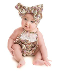 Look at this #zulilyfind! Rust & Cream Floral Lace Bubble Romper - Infant #zulilyfinds