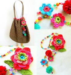 Loretta tote bag - crochet pattern and charts for bag and flowers trim. Flowers and leaves trim. Use beads of varied colors, size and texture for the loop and connecting the flowers and...
