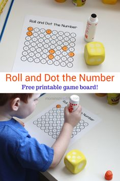 and Dot the Number Math Activity Roll and Dot the Number. Math Game for Kids that teaches number identification and counting.Roll and Dot the Number. Math Game for Kids that teaches number identification and counting. Preschool Math Games, Math Games For Kids, Numbers Preschool, Math Numbers, Homeschool Math, Preschool Learning, Fun Math, Teaching Math, In Kindergarten