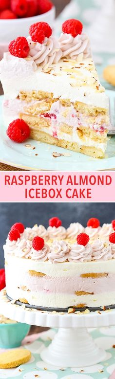 Raspberry Almond Shortbread Icebox Cake - layers of Walkers shortbread, almond and raspberry mousse and fresh raspberries! No bake, easy and delicious!