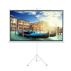 """SCREEN MATERIAL: Matte White (makes the viewing surface diffuses projected light uniformly) * DIMENSION: Screen Area ( 87"""" * 49""""), 1.3 Gain, 160 degrees of viewing angle with no resolution loss * Auto-Locking mechanism provides adjustable height and easy operation * Four side black borders and back enhance picture contrast * (Placed within the Amazon Associates program) * 03:48 Mar 12 2017"""