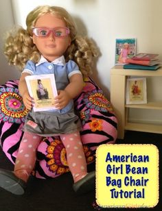 Make sure your doll has a nice comfy place to read while you read. I love getting cozy in an American Girl Bean Bag Chair. Nothing is like a bean bag chair! American Girl Outfits, American Girl Books, American Girl Furniture, American Girl Crafts, American Doll Clothes, American Girls, Sewing Doll Clothes, Girl Doll Clothes, Girl Dolls