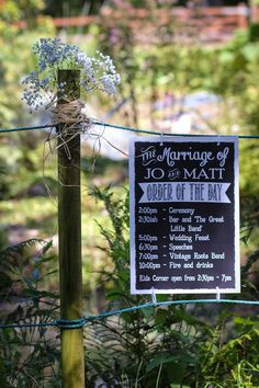 Outdoor Cornish wedding with a barefoot bride - Wedding timetable signs - Wedding Signs, Wedding Bride, Wedding Ceremony, Wedding Dress, Cornish Wedding, Styling A Buffet, Order Of The Day, Wedding Company