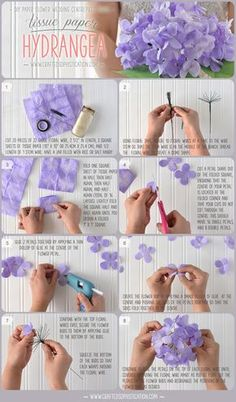DIY Tissue paper Hydrangea Tutorial from Crafted Sophistication that's gorgeous…