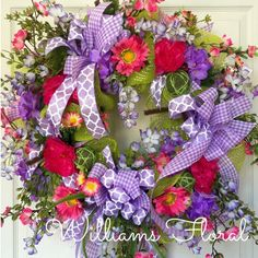 Wildflower Pink and Purple Spring and Summer Mesh Wreath by WilliamsFloral on Etsy https://www.etsy.com/listing/227326520/wildflower-pink-and-purple-spring-and